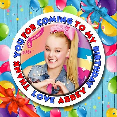 Personalised JoJo Siwa Birthday Stickers Labels Party Bag Thank You for coming