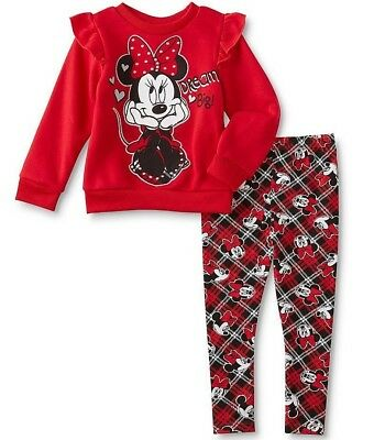 New Disney Minnie Mouse Ruffles Red Plaid Outfit 2 Piece Set Girls Size 5T