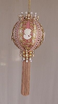 "Victorian Style Christmas Tree Ornaments - ""Cameo Lady Pink & Gold"" - LARGE SIZE"