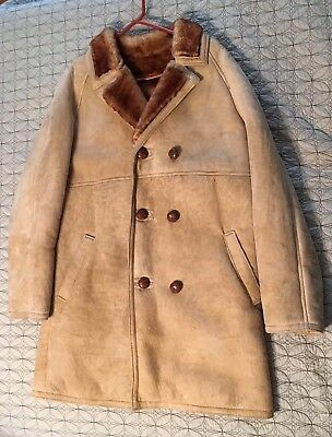 Vintage Shearling Sherpa Suede Leather Mens Brown Double Breasted OverCoat Sz L