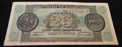 1944 Greece 25 Million Drachmai Note in EF Condition Nice OLD Collectible!