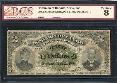 1887 $2 Dominion of Canada banknote. BCS VG-8 no problems. DC-11. Scarce note.