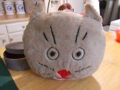 1950 Or 1960S Plush Cat Face Throw Pillow With Felt Eyes Nose Mouth Whiskers