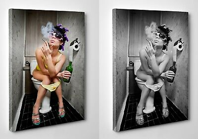Lady Girl Smoking Drinking on Toilet Canvas Print Wall Art Framed Ready To Hang