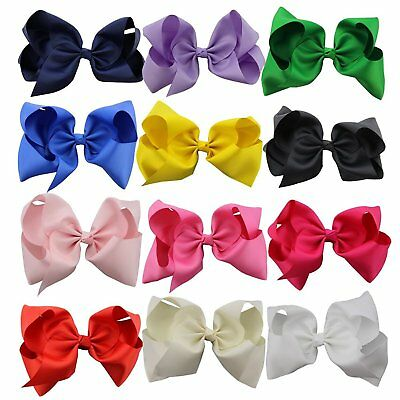 12 pcs 8 inches Huge Big Bow Clip Boutique Hair Bows For Girls Kids Children