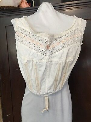 Antique Edwardian Corset Cover 1900-1910 Down Town Abby Titanic Med Large
