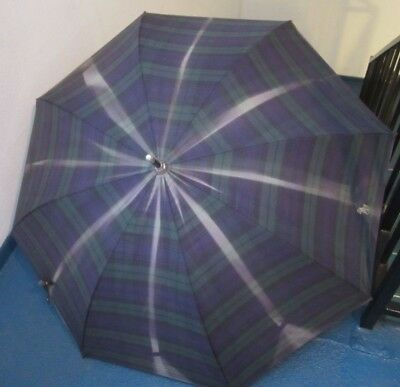 "Polo Ralph Lauren VTG  Black Watch Tartan Plaid Rain/Sun 140"" Arc Umbrella"