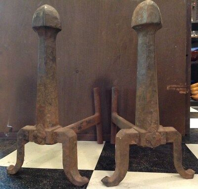 Pair of antique cast iron Forged Fireplace Andirons fire dog Art Deco log holder