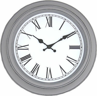 Distressed Painted Grey Wall Clock French Antique Vintage Shabby Chic 38cm NEW