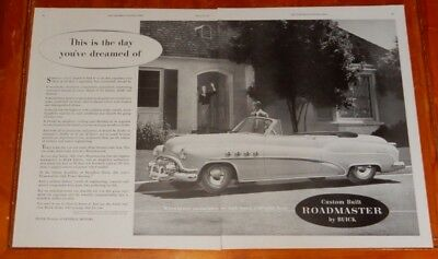 COOL1952 BUICK ROADMASTER CONVERTIBLE LARGE AD - VINTAGE 50s AMERICAN FIFTIES