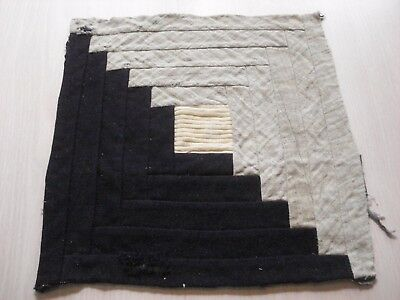 Antique Wool Log Cabin Quilt Block - Primitive Look - Projects - 11.5 Inch - #16