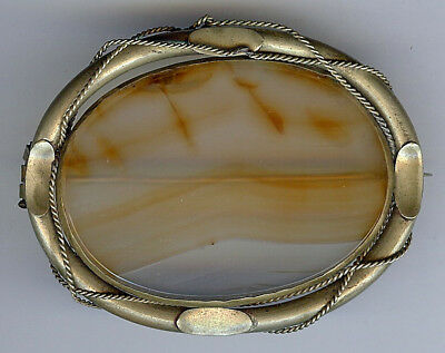 Large Antique Victorian Ornate Roped Scenic Translucent Agate Pin Brooch