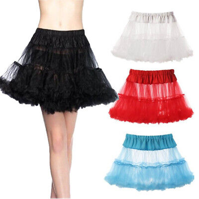 US 2 Layers Short Tulle Hoopless Underskirt Crinoline Petticoat Slip M L Cheaper