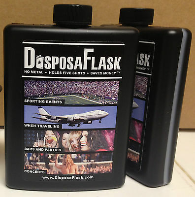 DisposaFlask  -  2 Pack  -  Plastic Alcohol Flask  -  Free Shipping