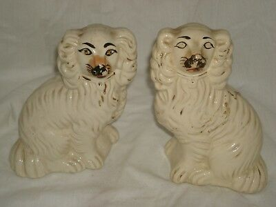 """PAIR of Antique Staffordshire Spaniel Dogs - 6+"""" Tall"""