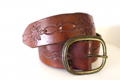 Genuine vintage tooled leather belt 1970s 70s boho bohemian tan brown wide thick