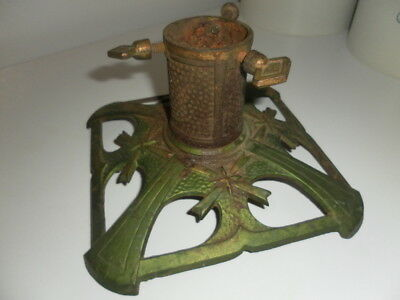 Vintage Rusty Green Cast Iron Christmas Tree Stand