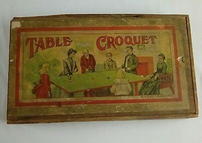 Great Antique Victorian Table Top Croquet Set Complete In Wooden Box