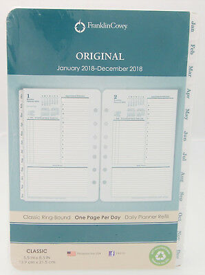 2018 Franklin Covey Original One Page Per Day Classic Ring-Bound Planner Refill