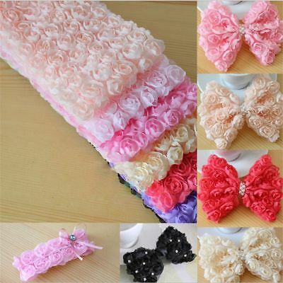 6 Row Embroidered Craft Rose Flower Lace Trim Ribbon Fabric 3D Chiffon