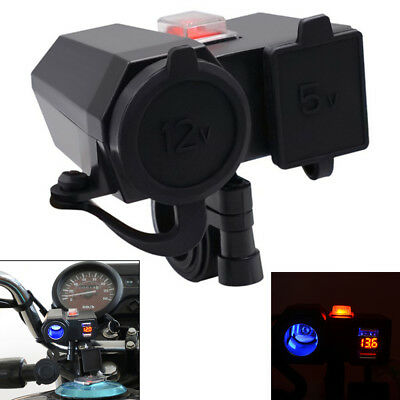LED Handlebar USB Cigarette Lighter Socket Voltmeter Switch for Motorcycle ATV