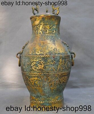 Chinese Dynasty Bronze gilt Man hunting Deer beast Statue Zun Bottle pot tanks A