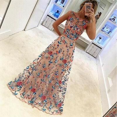 Women Long Prom Lace Formal Evening Cocktail Party Bridesmaid Gowns Full Dress y