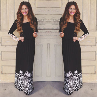 Women Ladies Lace Boho Long Sleeve Party Evening Cocktail Prom Maxi Long Dress y