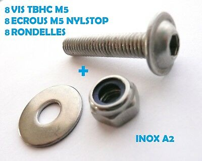 8 VIS TBHC INOX A2 M5 x 40 mm TETE BOMBEE A EMBASE + ECROUS NYLSTOP + RONDELLES