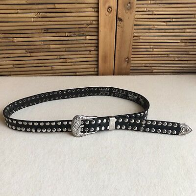Vintage 70s/80s BIKER Black COWHIDE Leather STUDDED Western SILVER Buckle & TIP