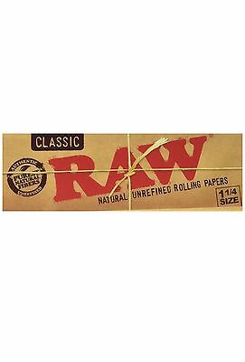 1 Pack Classic Unrefined  Raw Rolling Papers 1 1/4 Size 50 Leaves per pack