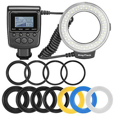 48 Macro LED Ring Flash Bundle with LCD Display Power Control for Canon & Nikon