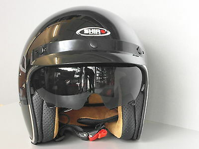 Shiro SH 235 in Black Jet Helmet City Urban Classic Vintage Retro Leather