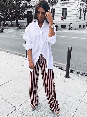a28f3a8c ZARA STRIPED TROUSERS Palazzo Red Maroon Co-Ord Blogger Belted Size ...