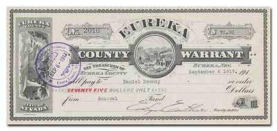 Eureka County, Nevada Warrant Certificate