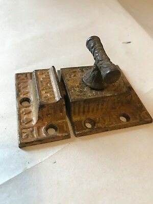 Rare Old Art Craft Eastlake Victorian Cast Iron Cabinet Cupboard Door Latch Lock