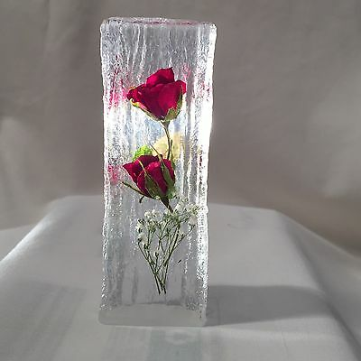 Real Red Roses Ornament Paperweight (Hand Made)