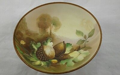 Rare Vintage Antique Three Footed Nippon Nut Bowl Raised 3D Hand Painted Accents