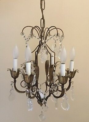 Antique Vintage French Petite Crystal Beaded Chandelier Italian 6 Light Tole