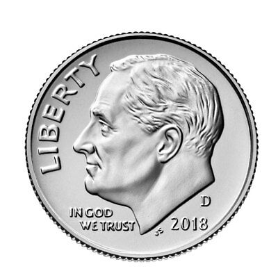 In Stock!!! 2018-D Roosevelt Dime,  BU from bank roll. Ready to Ship!!!