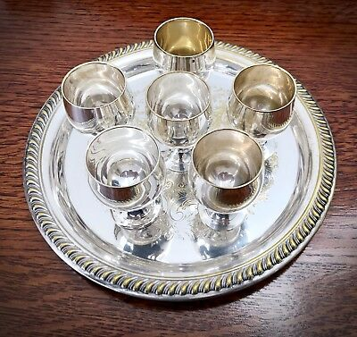 Vintage Cordial Silverplate Set With Tray And Glass Cover - Ruby & Sons Jewelers