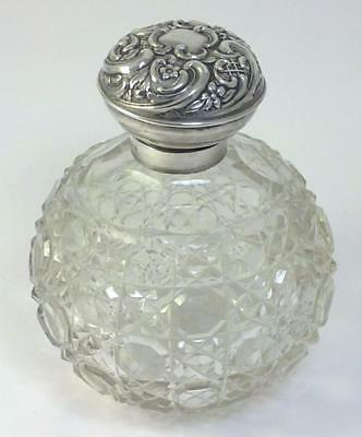 "Antique hallmarked Sterling Silver-lidded Cut Glass 5"" Scent/Perfume Bottle-1905"