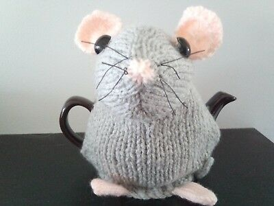 Hand Knitted Tea Cosy - Grey Dormouse - to fit small 2 cup tea pot