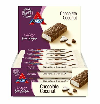 Atkins Endulge Chocolate Coconut Low Carb Low Sugar Rich Snack Bar 15 x 35g