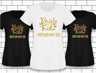Hen night Hen Do custom Bride Tribe Ladies T - shirts - Free P&P - UP TO 10% OFF