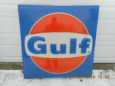 Large Plastic 4ft X 4ft GULF SIGN Service Gas station In nice condition