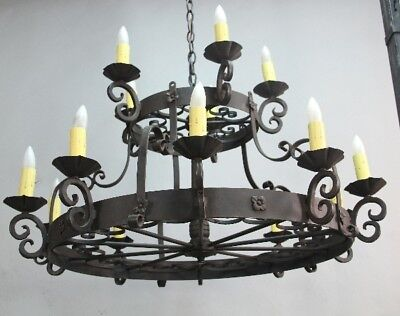 Antique Larger Scale Two Tiered 1920's Spanish Revival Iron Chandelier (10870)