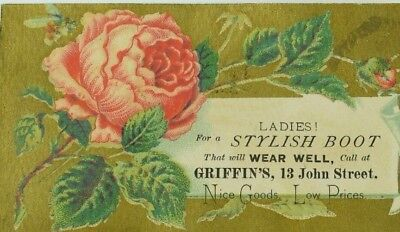 1880's Victorian Trade Card Griffin's Stylish Boots & Goods Honeybee Rose P82