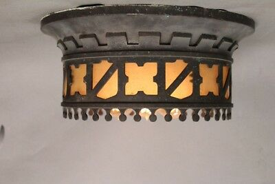 Antique Spanish Revival 1920's Ceiling Mount with Shield Motif (10876)