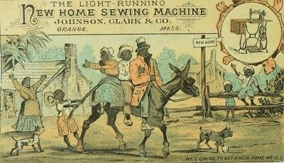 1870's New Home Sewing Machine Black Americana Family On Mule Moving, Dogs P82